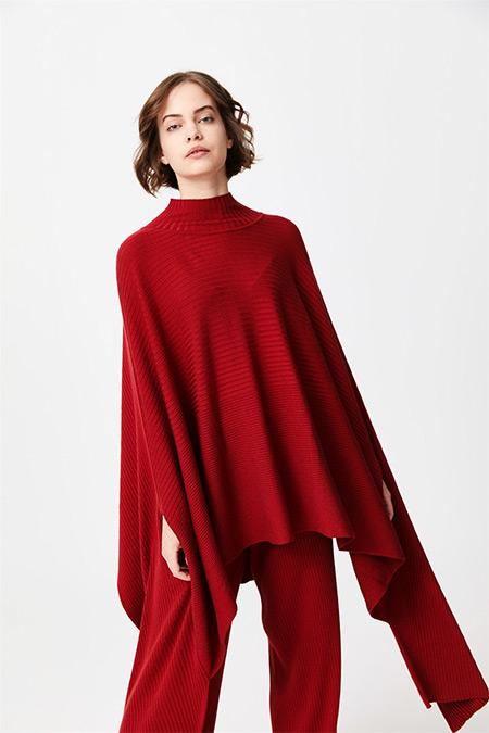 Tığ Triko Kırmızı Fitilli Panço-Pantolon Triko Takım