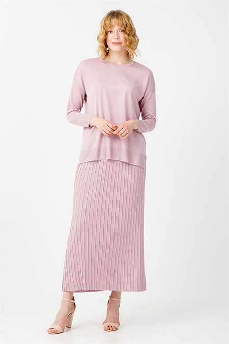 Tığ Triko Pembe Pileli Etek Bluz Triko Takım