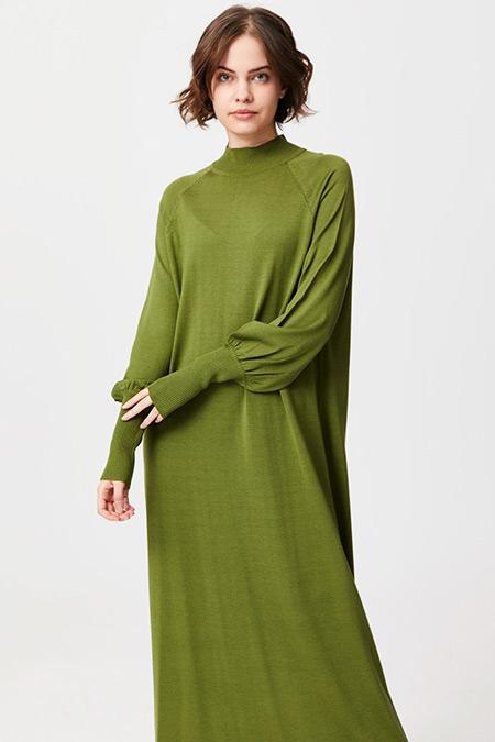 Tığ Triko Yeşil Reglan Kol Triko Elbise