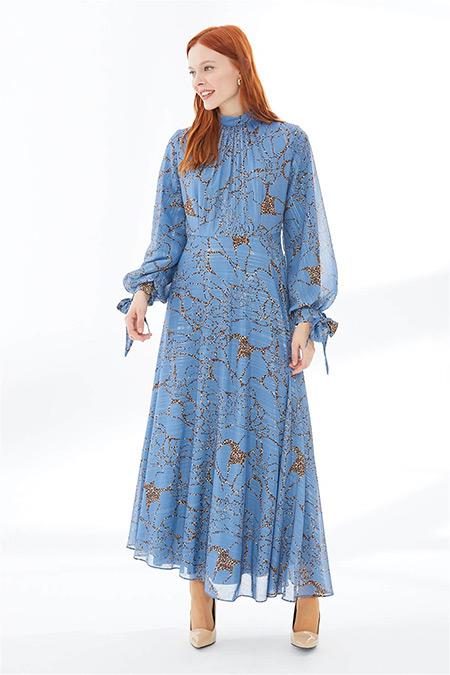 Zühre İndigo Leopar Çizgili Kemer Detaylı Uzun Elbise