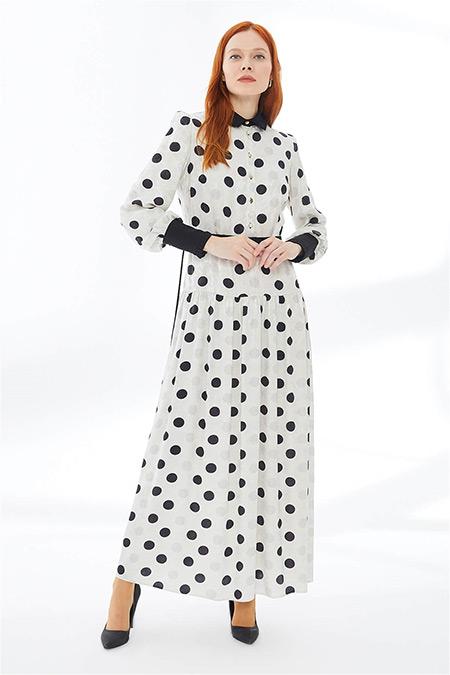 Zühre Ekru Puantiye Desenli Uzun Elbise