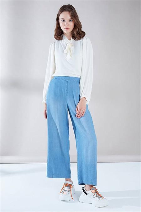 Zühre Mavi Geniş Paça Pantolon