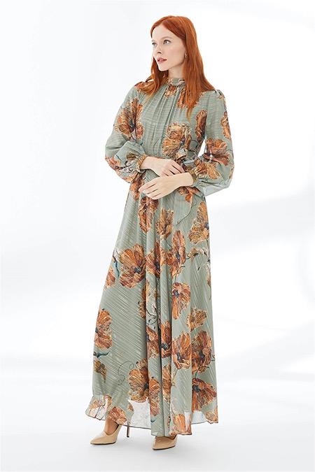 Zühre Mint Çiçek Desenli Uzun Elbise