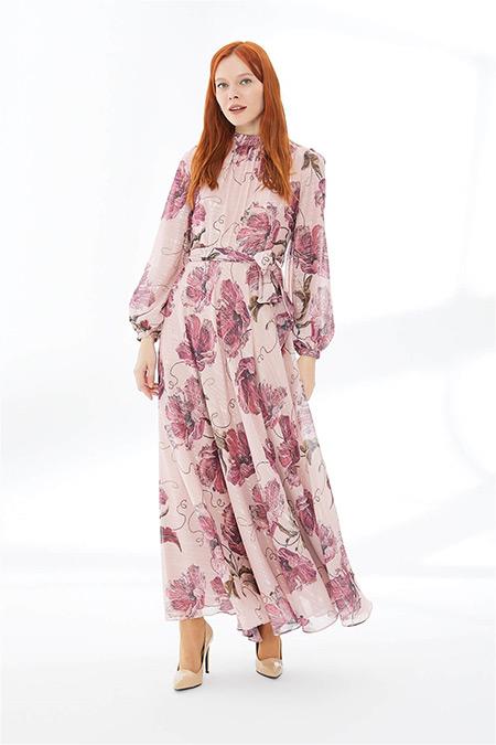 Zühre Pudra Çiçek Desenli Uzun Elbise
