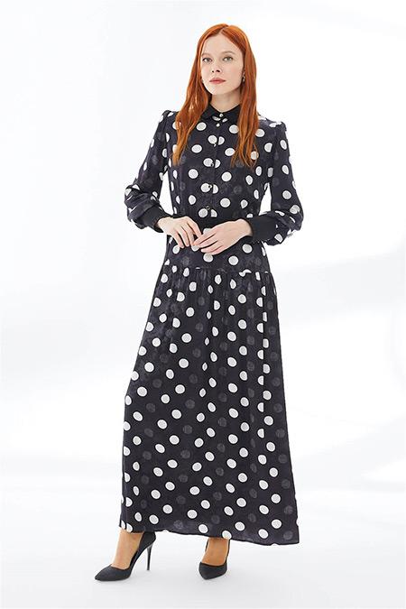 Zühre Siyah Puantiye Desenli Uzun Elbise