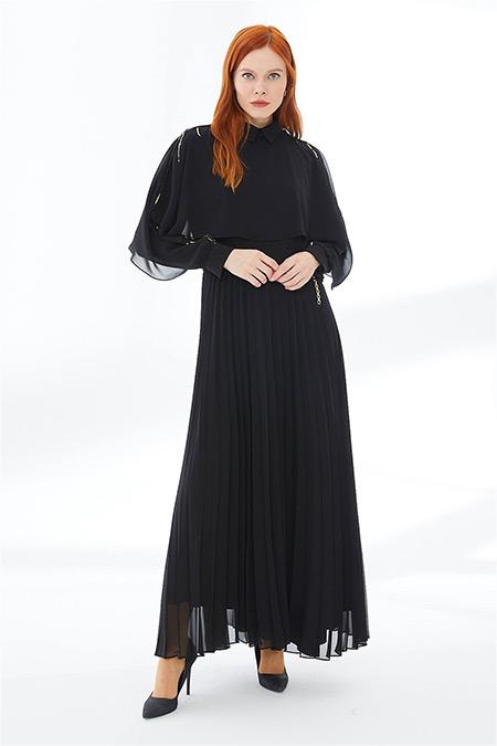 Zühre Siyah Pul Payet Pelerin Detaylı Elbise