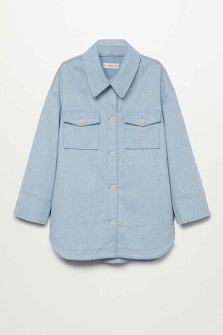Mango Mavi Geniş Kesimli Gömlek Ceket