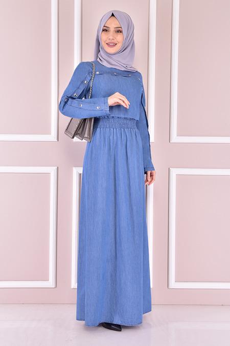 Modamerve Açık Mavi Kot Elbise