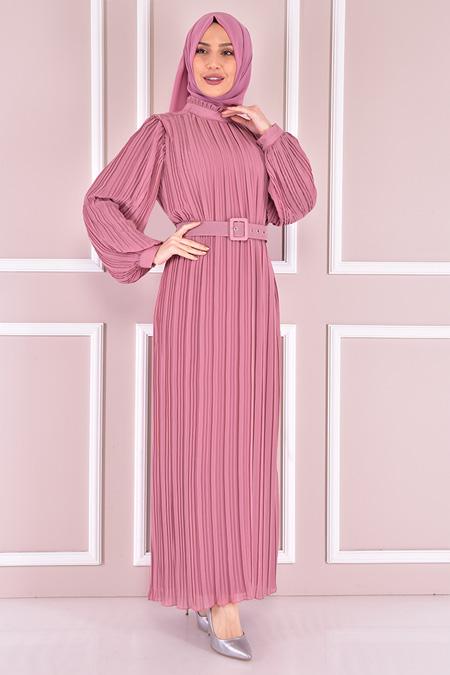 Modamerve Gülkurusu Fitilli Şifon Elbise