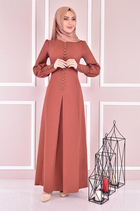 Modamerve Kiremit Düğmeli Elbise