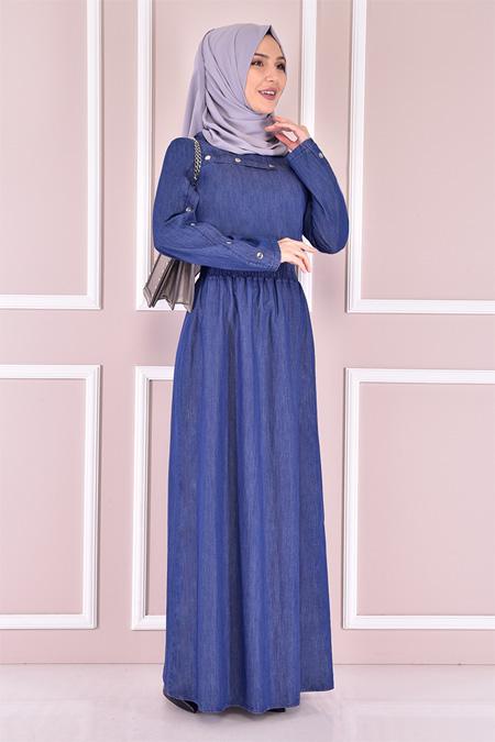 Modamerve Koyu Mavi Kot Elbise