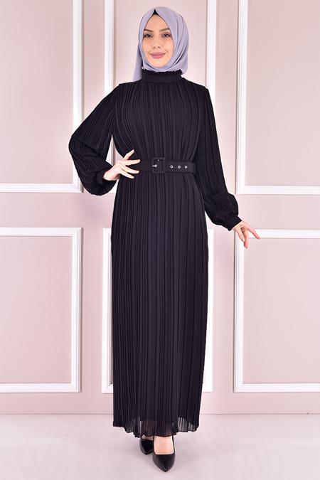 Modamerve Siyah Fitilli Şifon Elbise