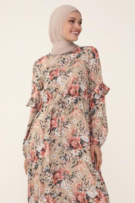 Refka Woman Pudra Çiçekli Fırfır Detaylı Elbise