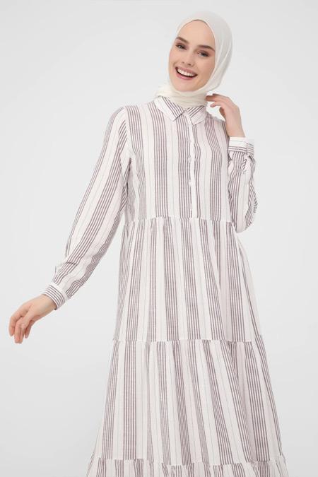 Refka Mürdüm Çizgili Pamuk Kumaşlı Düğmeli Elbise