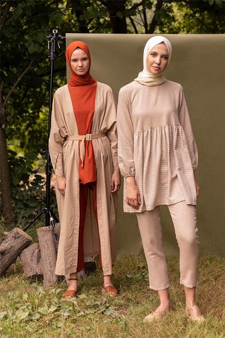 İnşirah Bej Tunik&Pantolon İkili Takım