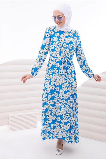 İnşirah Mavi Kuşak Detaylı Gelincik Desenli Elbise