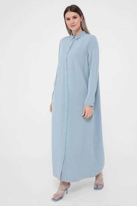 Alia Buzul Mavi Büyük Beden Düğme Detaylı Doğal Kumaşlı Gömlek Elbise