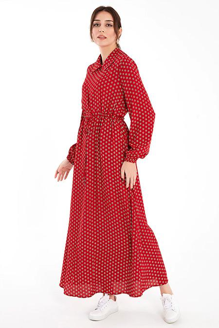 Ayşen Özen Kırmızı Çiğdem Elbise