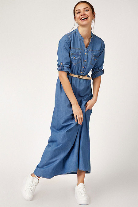 Bigdart Mavi Beli Lastikli Kemerli Tesettür Kot Elbise
