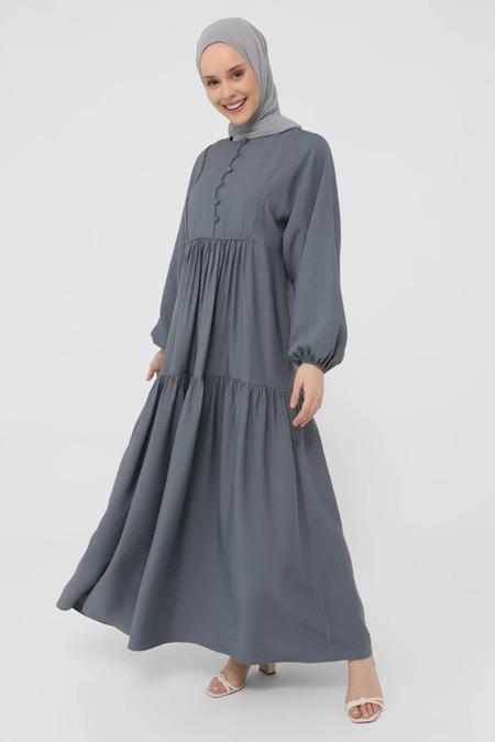 Refka İndigo Brit Detaylı Elbise