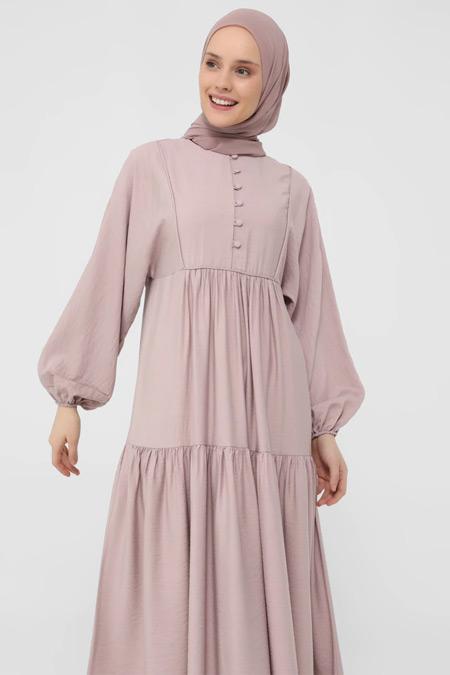 Refka Pembe Brit Detaylı Elbise