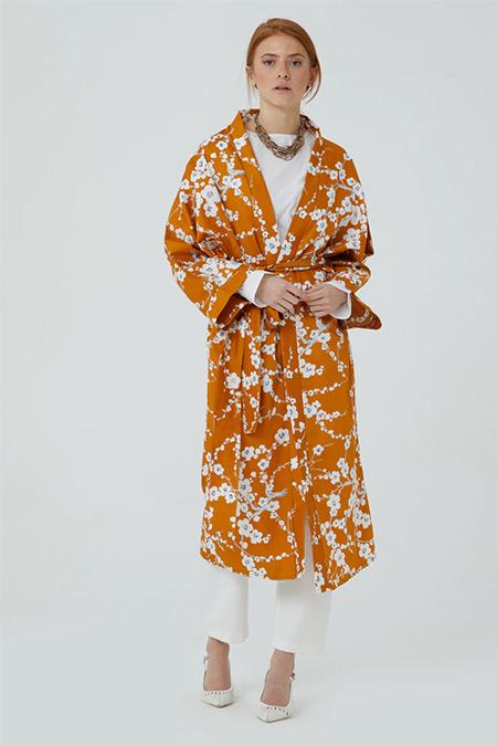 Ceylan Otantik Hardal Sarısı Japon Çiçeği Kimono