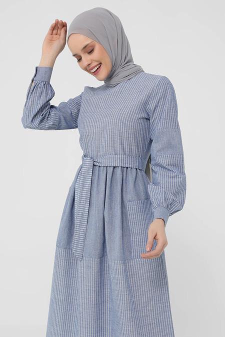 Refka Mavi Doğal Kumaşlı Çizgili Elbise