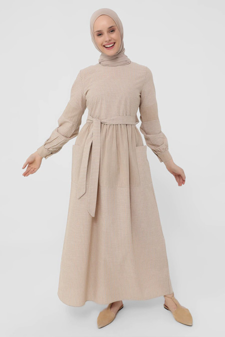 Refka Vizon Doğal Kumaşlı Çizgili Elbise