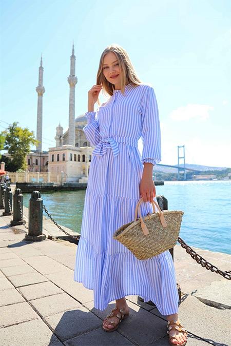 Ebu Prive Mavi Çizgili Elbise