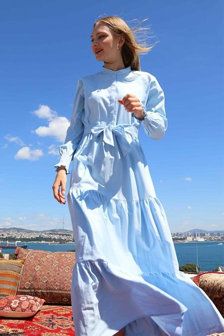 Ebu Prive Mavi Rustic Poplin Elbise