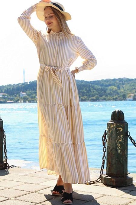 Ebu Prive Sarı Urban Çizgili Elbise