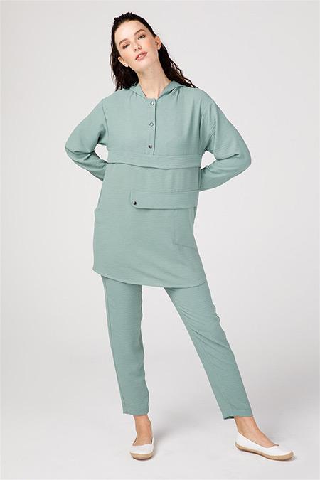 Esswaap Mint Önü Çıtçıtlı Tunikli Pantolonlu Takım