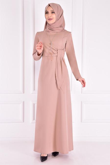 Modamerve Bej Kolyeli Elbise