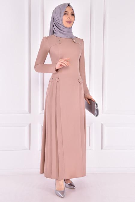 Modamerve Bej Pileli Elbise