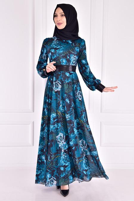 Modamerve Petrol Şifon Elbise