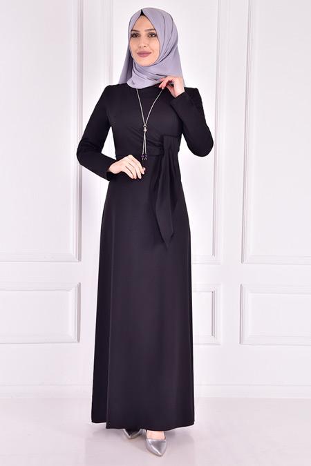 Modamerve Siyah Kolyeli Elbise