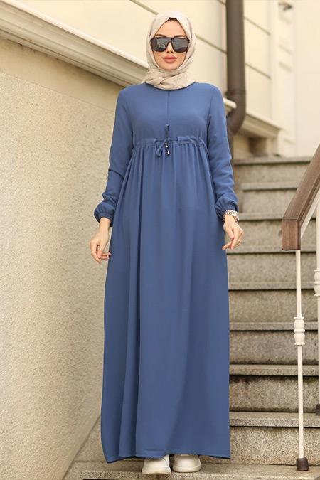 Neways İndigo Beli Bağcıklı Elbise