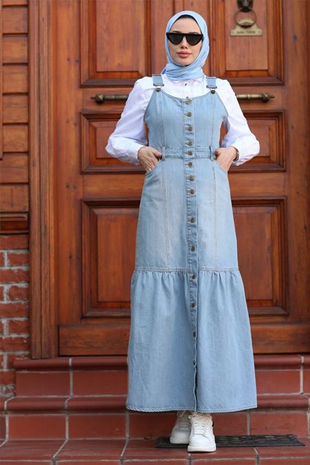 Neways Açık Mavi Salopet Kot Elbise