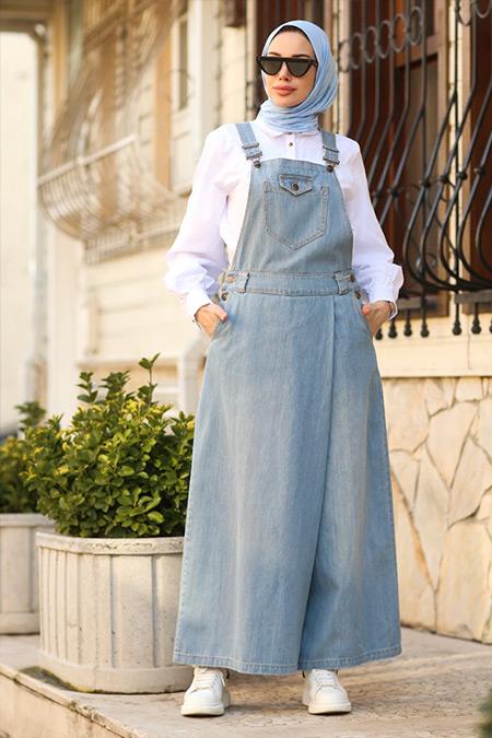 Neways Açık Mavi Salopet Kot Pantolon