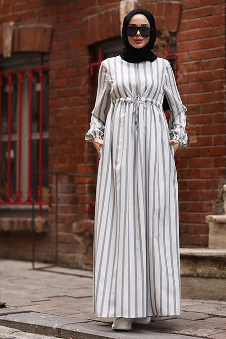 Neways Ekru Beli Bağcıklı Çizgili Elbise