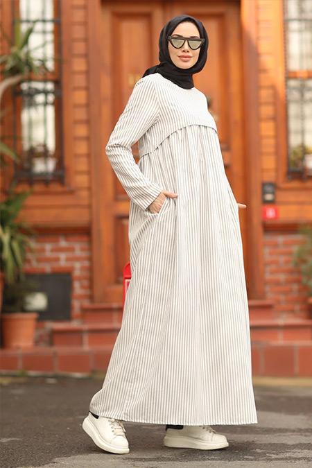 Neways Ekru Cep Detaylı Çizgili Elbise