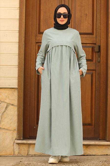 Neways Mint Cep Detaylı Çizgili Elbise