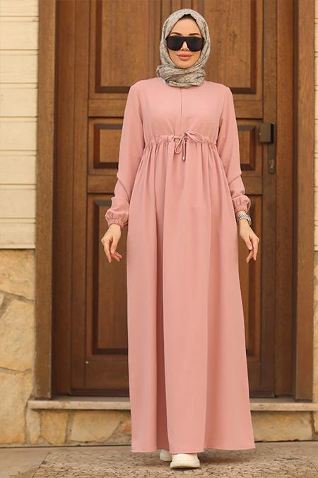 Neways Pudra Beli Bağcıklı Elbise