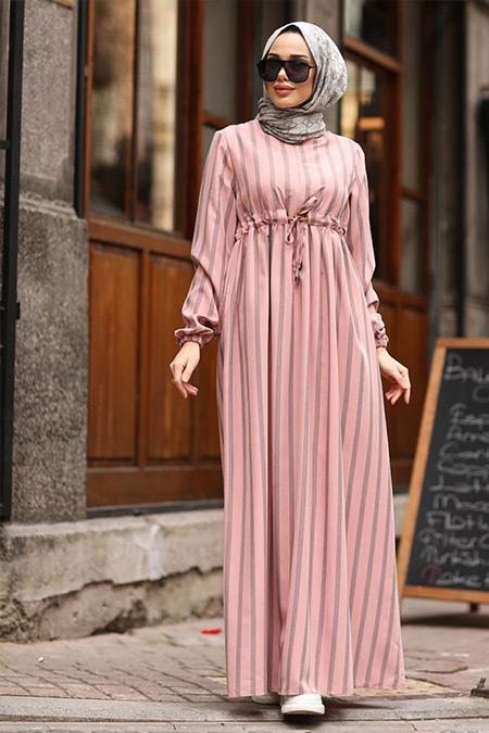 Neways Somon Beli Bağcıklı Çizgili Elbise