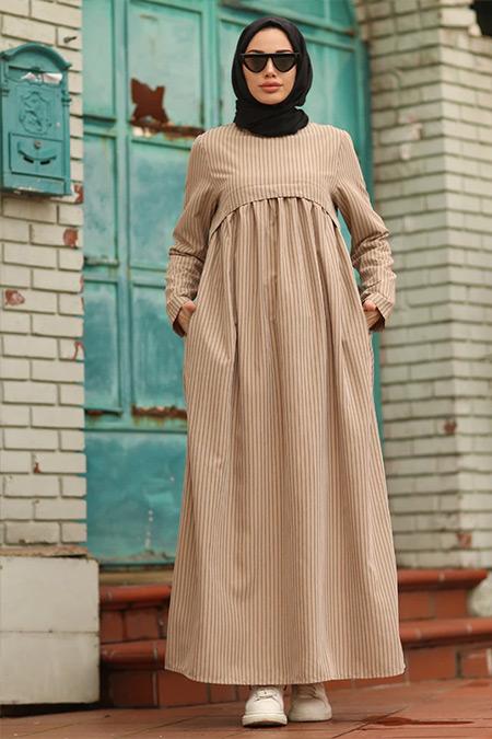 Neways Vizon Cep Detaylı Çizgili Elbise