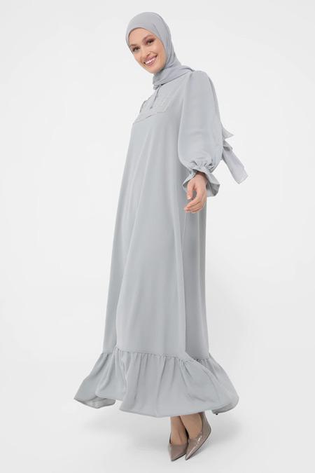 Refka Gri Parlak Taş Şeritli Fırfırlı Aerobin Elbise