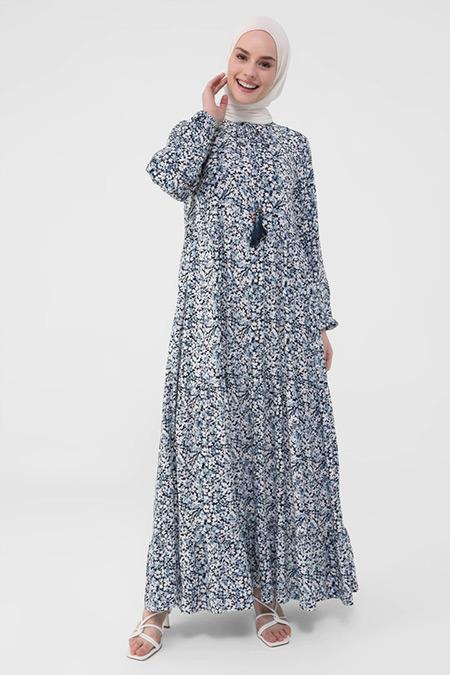 Refka Casual Mavi Doğal Kumaşlı Yakası Bağcıklı Çiçek Desenli Elbise