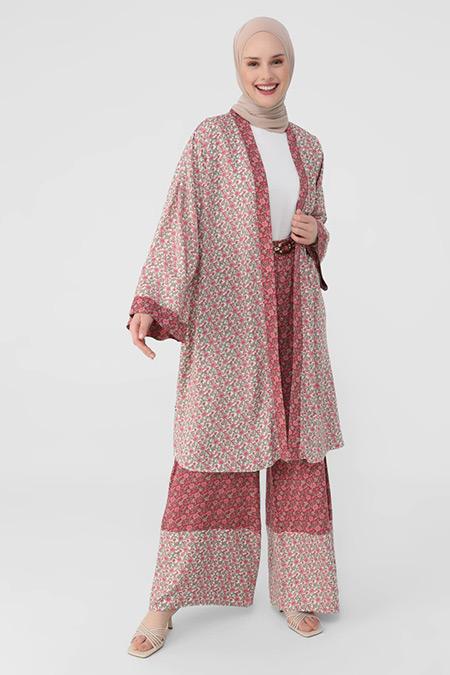 Refka Derin Pembe Çıtır Çiçek Desenli Viskon Kap/Kimono