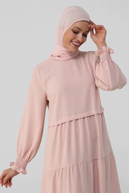 Refka Gül Kurusu Kol Ucu Gipeli Rahat Kesim Aerobin Elbise