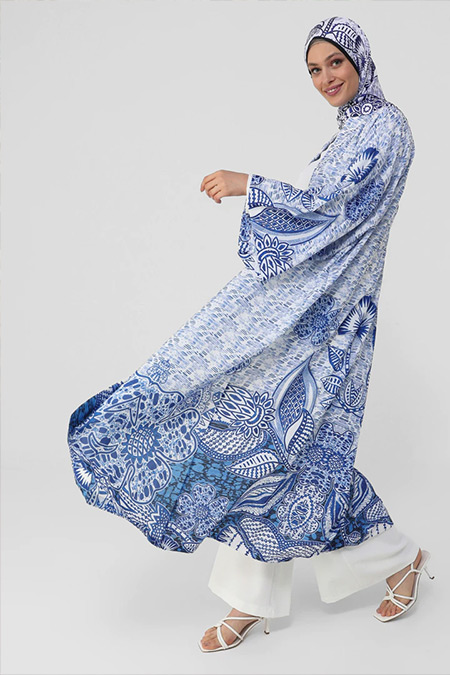 Refka Woman Mavi Kuşak Detaylı Desenli Ferace